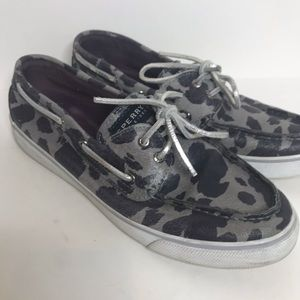 Sperry Top Siders Gray Animal Print Loafers W104